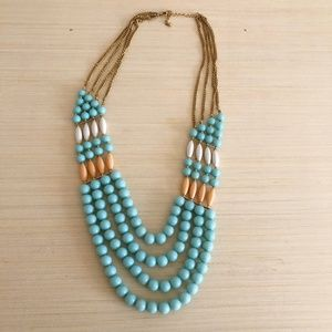 Multilayered Plastic Beaded Necklace w/ Gold Chain